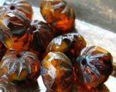 Pumpkin Spice (10) -Czech Glass Crullers 9x6mm