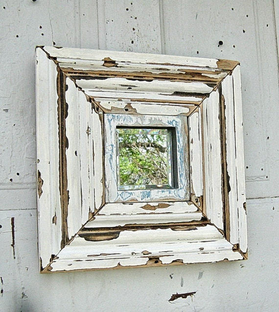 Reclaimed Wood Mirror, Small Accent Mirror, Chippy White Frame Mirror - Reclaimed Wood Mirror Small Accent Mirror Chippy White Frame