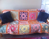 RESERVED Vintage Bright and Bold Cheerful Orange Quilt 1940s shabby chic