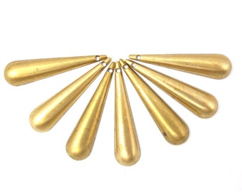 Vinage Brass Teardrop Charms (8x) (V442)