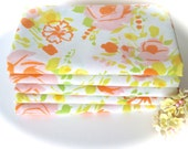 Vintage Sheet Fabric -  Fat Quarter - Sweet Cottage Roses in Pink and Orange with Yellow and Green Accents