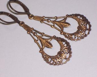 FREE USA Shipping Filigree Dangle Earrings on Antiqued Brass Lever Backs