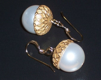 White Pearl Acorn Earrings on 14k Goldfill FREE U.S. Shipping