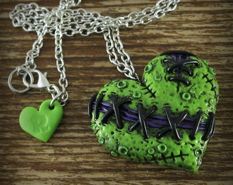 Stitched Zombie Heart Necklace - Lime Green