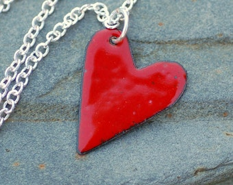 Copper Enamel Heart Pendant Necklace Little Red