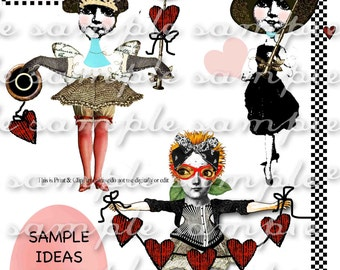 ART TEA LIFE Two of Hearts Collage Sheet Digital File clip art valentine paper doll card tag journal decoupage scrapbook altered doll