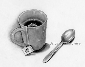 Printable Pencil Drawing, Mug of Tea With Spoon, Use to Create Card, Ecard or Art Print, Instant Download