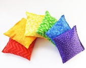 Set of 6 Bean Bags - Sensory Toy / Game / Party Favors -  Rainbow Colors