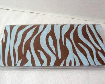 Checkbook Cover Zebra Blue Works with Duplicate Checks
