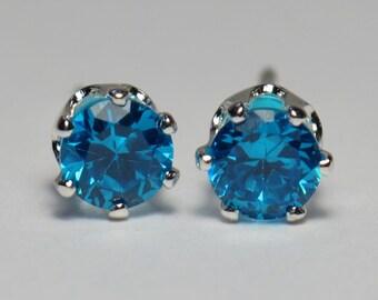 """4mm Faceted Blue Zircon Post Earrings in Sterling Silver- Aqua Blue (.16"""")"""