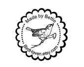 bird on branch custom Rubber Stamp