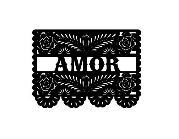 Papel Picado Amor With Roses Rubber Stamp