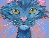 Original  Custom Cat Portrait in my Funky Feline Style