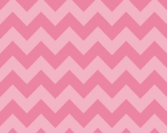 Riley Blake Designs, Medium Chevron Tone on Tone Hot PInk Fabric - REMNANT Size 23 Inches by 44 Inches