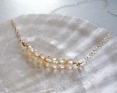 Delicate beaded necklace - golden beige beads necklace - beaded necklace - classic necklace - delicate necklace - Cherish golden beige