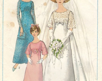 Vintage 1960s Wedding Gown Simplicity Sewing Pattern 6825
