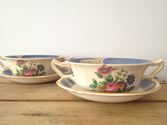 Reserved for Dorothy B -- Decorative Bowl Soup Bowls - Booths Silicon China Made In England Circa 1906 - Pair of Soup Bowls