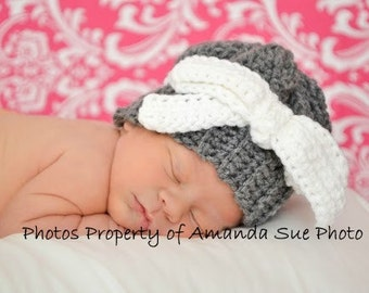 Crochet Pattern for a Crochet Baby Hat Romantic Bow Hat for Baby Infant  Photo Prop PDF INSTANT DOWNLOAD