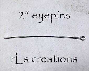 Silver Plated Eyepins 2IN 21GA 100PCS