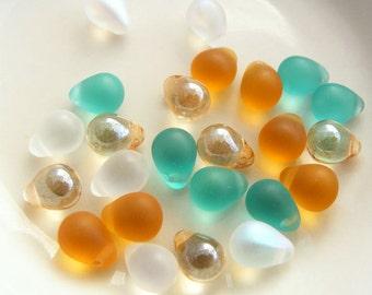 Czech Glass Teardrop Beads 8x6mm Dusty Teal Designer Glass Bead Mix (24pk)