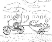 instant digital download - printable cat and crow coloring page nr.8