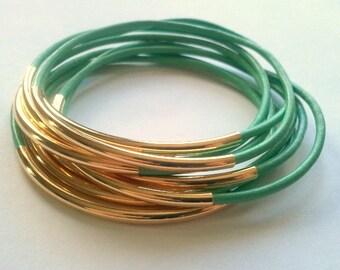 Leather Bracelets, Leather Bangles, Mint Bangles,  Set of 9 Mint and Gold Leather Bangle Bracelets, Boho Stackable Bracelets, wrap bracelets