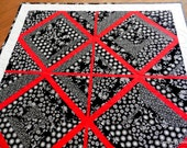 Quilted Table Topper, Wall Hanging, Centerpiece, Modern, Black, White & Red, This is My Rendition of Hugs and Kisses, Handmade Table Linens