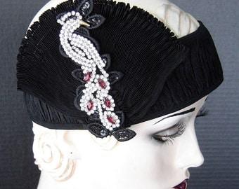 Gatsby Flapper Headpiece With Vintage Art Deco Style Jeweled Bird