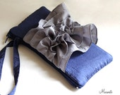 Custom Bridal Clutch- Color Block Butterfly Wristlet- Navy Gray Black Ivory White Yellow and More