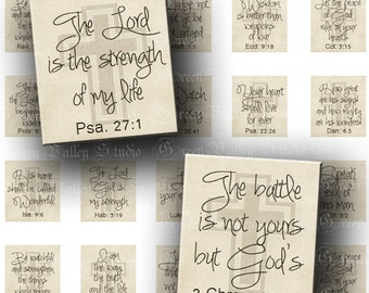 INSTANT DOWNLOAD Digital Collage Sheet Inspirational Bible Quotes God Biblical Quotations .75 x .83 Inch for Scrabble Pendants (S114)