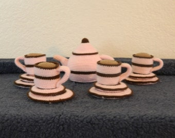 New Color Crochet Tea set Baby Pink with Brown Stripe