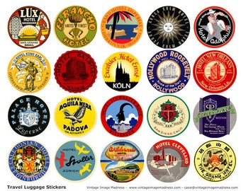 TRAVEL LUGGAGE STICKERS Vintage Travel Images Instant