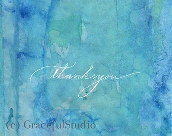 Note Card Set - Blue Green Watercolor Thank you Notes Set of 10 with Envelopes