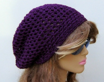 Slightly slouchy hat, Orchid Purple hippie short dread tam dreadlock slouchy beanie hat, snood beanie, small womens beanie, skullcap hat