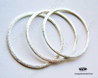 30mm Flat Jump Rings Large Sterling Silver Hammered Brushed Round Ring F118- 4 pcs
