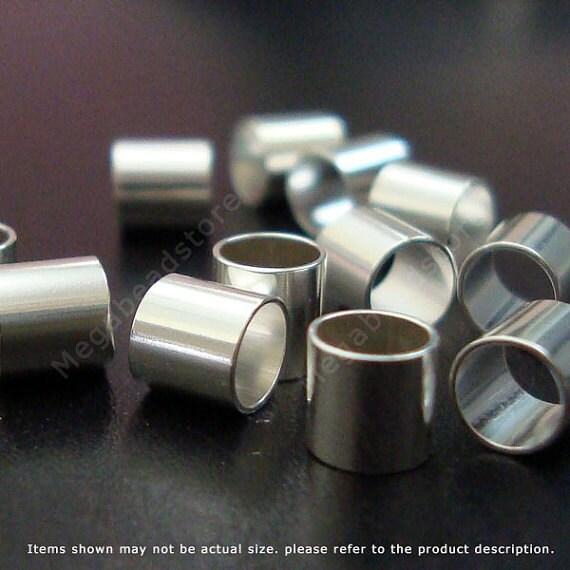 50 pcs 4mm Crimp Tubes 925 Sterling Silver Crimp Beads 4 x 4 mm F32