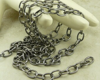 1 Foot TierraCast 9x6mm Embossed Cable Chain - Antique Silver Plated Brass American Made - I ship Internationally 0325
