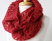 Women Fashion - Infinity Hand-Knit Scarf with Sequins - Mohair and Silk Cowl Snood Scarf - Red Apple - ElenaRosenberg