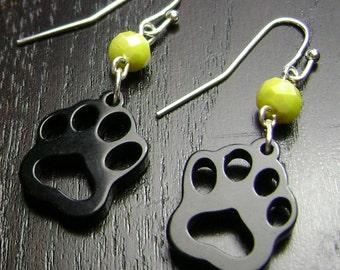 Paw Print Dangle Earrings in Yellow and Black