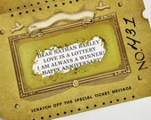Personalized Golden Ticket Scratch Off Card for surprise events, family trips. Kid, Vegas approved! >>Read ITEM DETAILS for details!