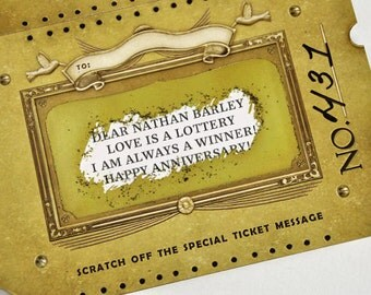 Custom Golden Ticket card with Scratch Off Message. Surprise gift or fun announcement card. >>Read ITEM DETAILS for details!