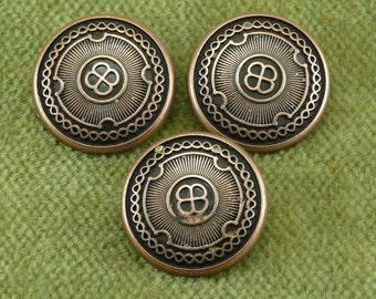 Antique Copper Spiral Shield Buttton  F31