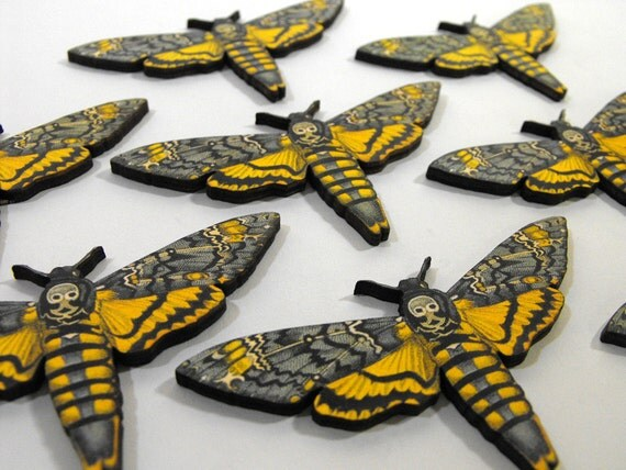 8 Wooden Death Head Moths - Collection of Laser Cut Wood Art Parts