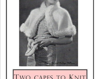 1940'sTwo Capes to Knit in Angora Yarn Vintage Knitting Pattern Instant Download