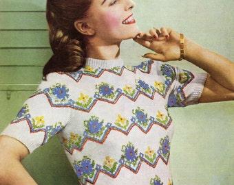 Ladies Fair Isle Vintage Short Sleeved Sweater  Knitting Pattern pdf  Digital Download Weldons A 713