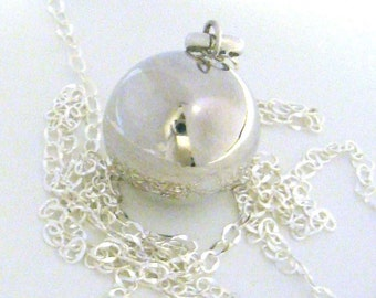 "16mm plain Sterling silver pregnancy bola harmony ball musical jingle chime charm pendant w/ 36"" chain necklace"