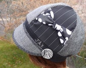 Jax Hats made from upcycled skirts with a side bow refashioned from a men's tie - first 3 hats in the photo