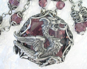Medieval Dragon Necklace - Amethyst Glass in Antiqued Silver