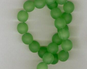8mm Green Sea Glass Round Beads Half Strand