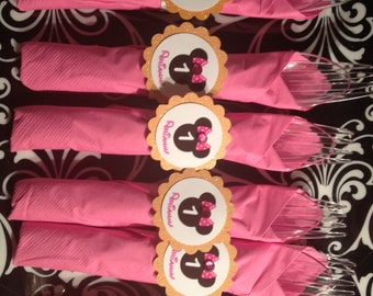 MADE TO ORDER Minnie Mouse Theme Wrapped Utensils with Napkin Ring holder